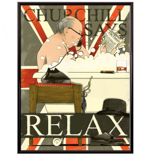 Churchill In The Bath Poster