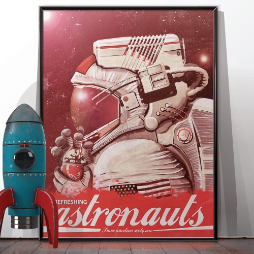 Neil Armstrong Drinking Vintage Poster