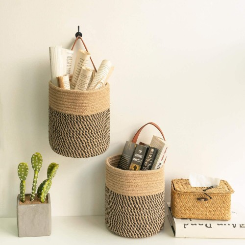 2Pack Black Jute Basket