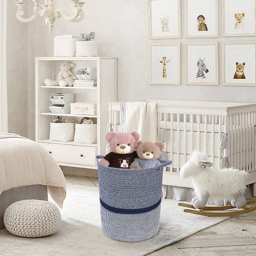 Navy Clothes Laundry Basket