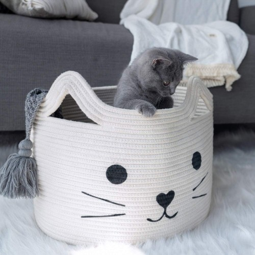 Cat White Nursery Basket