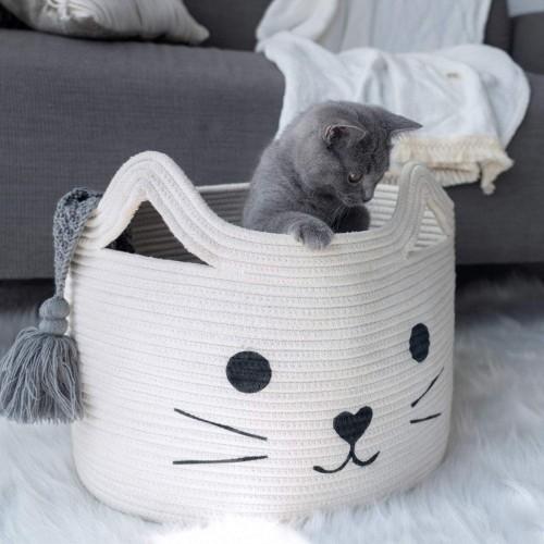 Cat White Nursery Basket