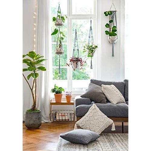 Grey Boho Hanging Planters