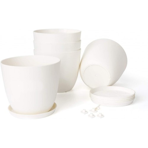 Plastic Planters with Saucers