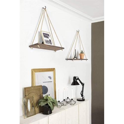 Rustic Wood Hanging Shelves