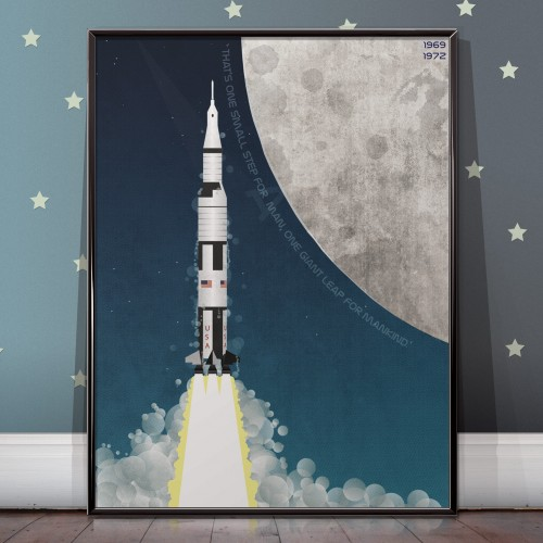 Apollo Program Saturn V Moon Mission Poster