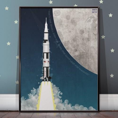 Apollo Program Saturn V Moon Mission Poster