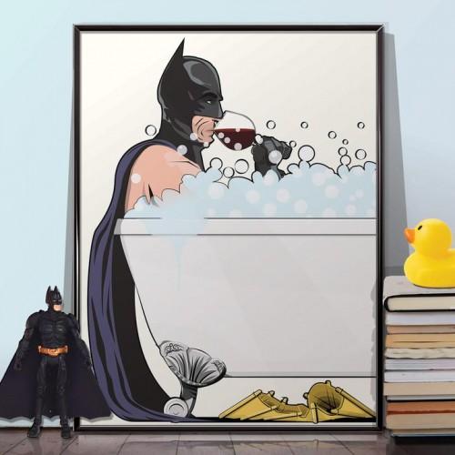 Batman In The Bath Poster