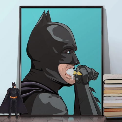 Batman Brushing Teeth Poster