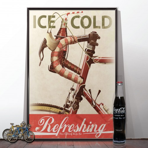 Coke Advert Bicycle Retro Poster
