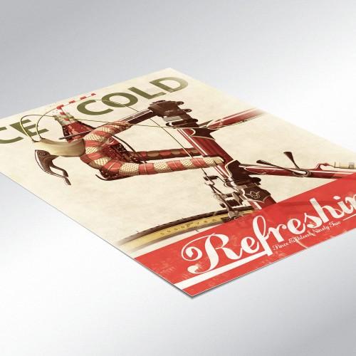 Coke Advert Bicycle Retro Poster
