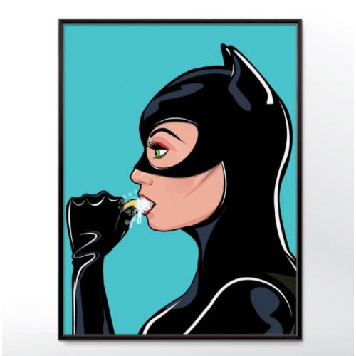 Catwoman Brushing Teeth Poster