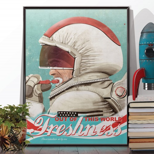 Spaceman Brushing Teeth Poster