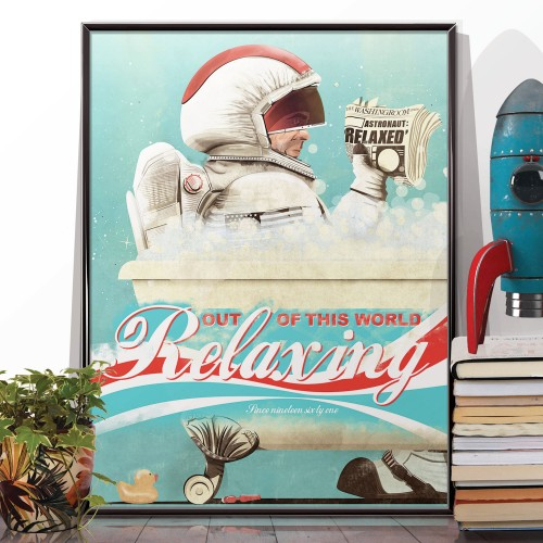 Spaceman In The Bath Poster