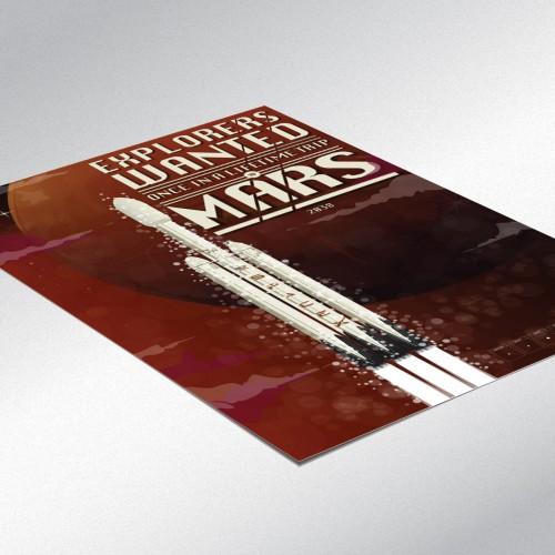 SpaceX Mars Rocket Poster