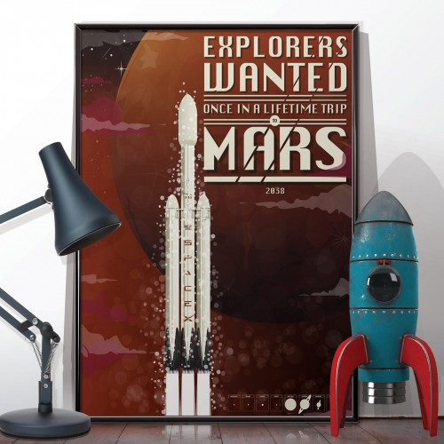SpaceX Mars Rocket Poster