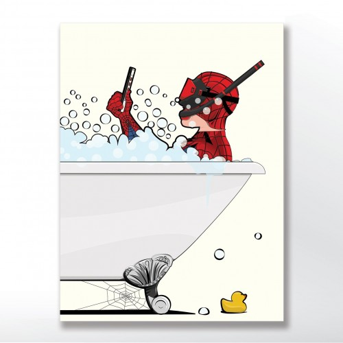Spiderman In The Bath Poster