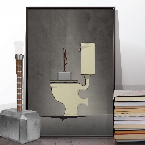 Superhero Thor Bathroom Poster