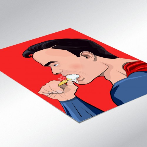 Superman Brushing Teeth Poster