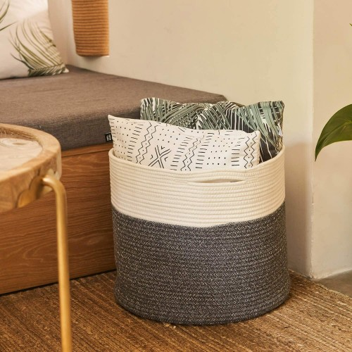 White Grey Storage Basket