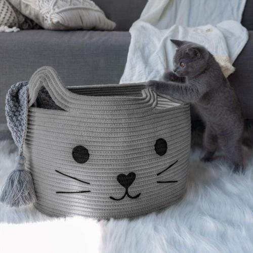 Cat Grey Nursery Basket