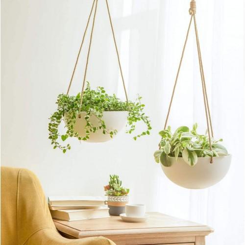 Minimalist Hanging Ceramic Planters
