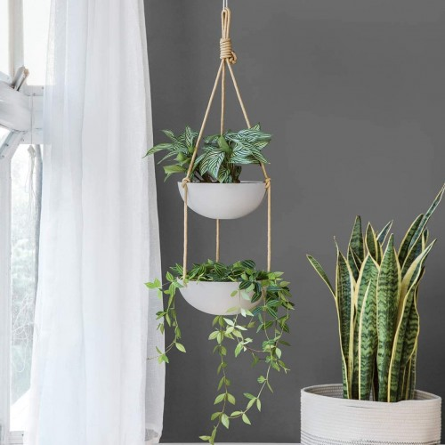 Ceramic Double Hanging Planter