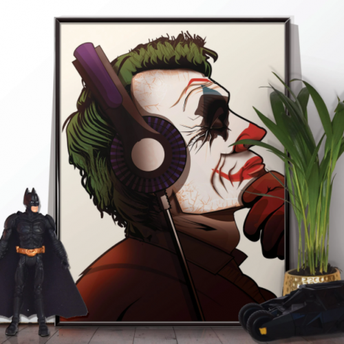 Joker Headphones Music Poster