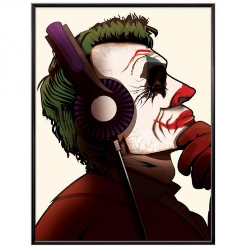Joker Headphones Music Poster