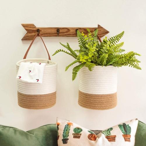 Jute White Hanging Baskets