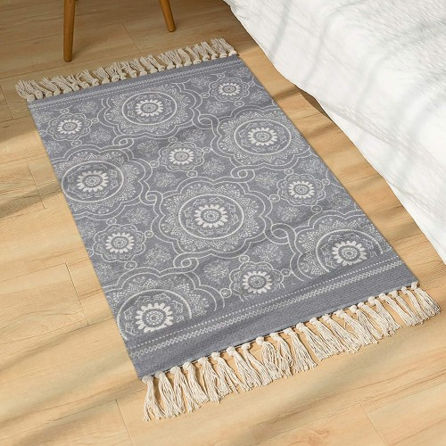 Grey Cotton Area Rug