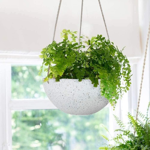 Speckled White Hanging Planters
